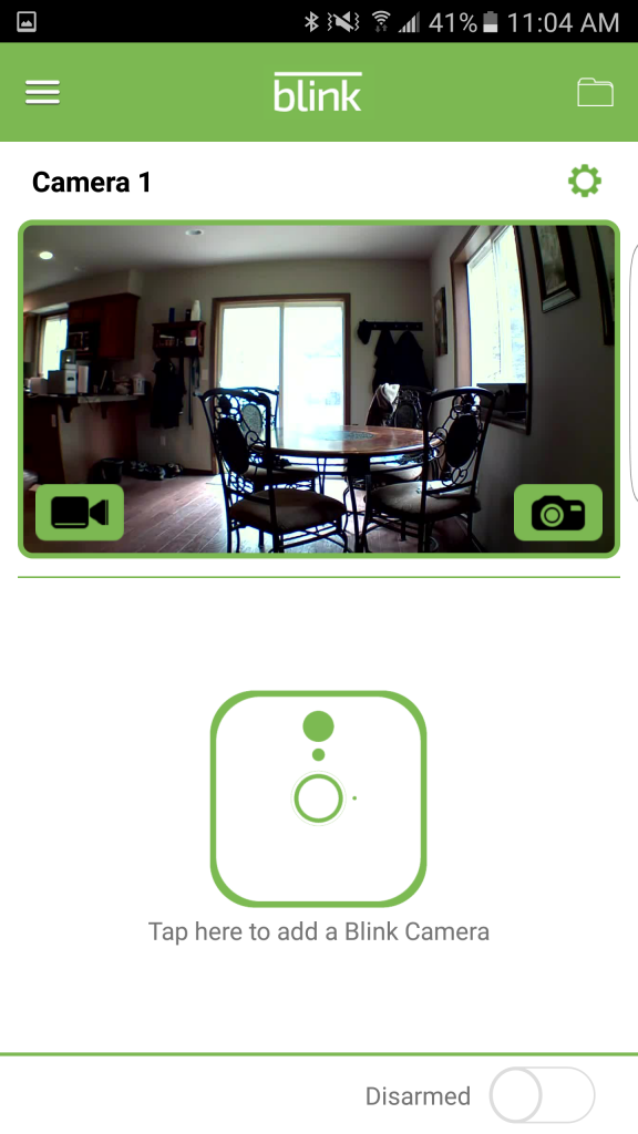 Main screen on the Blink app. Each camera is listed and you can jump to the feed.