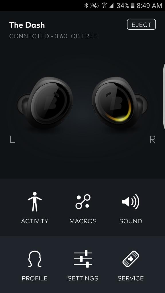 Home screen of the Bragi app.