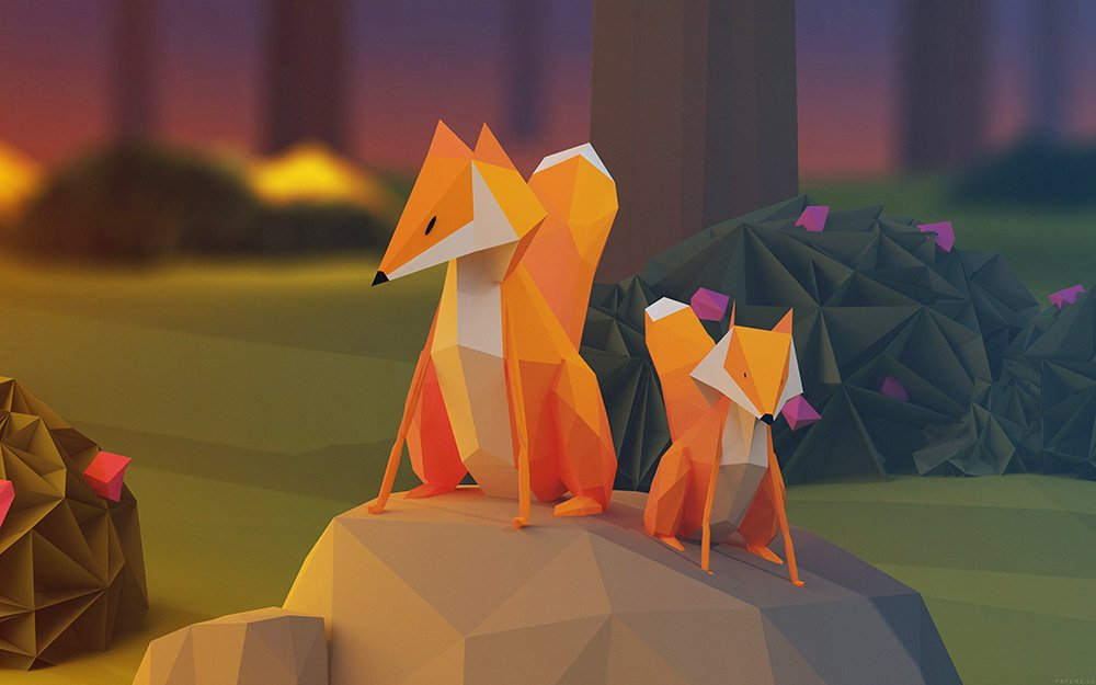 two-fox-illust-art-3d-animal-3840x2400
