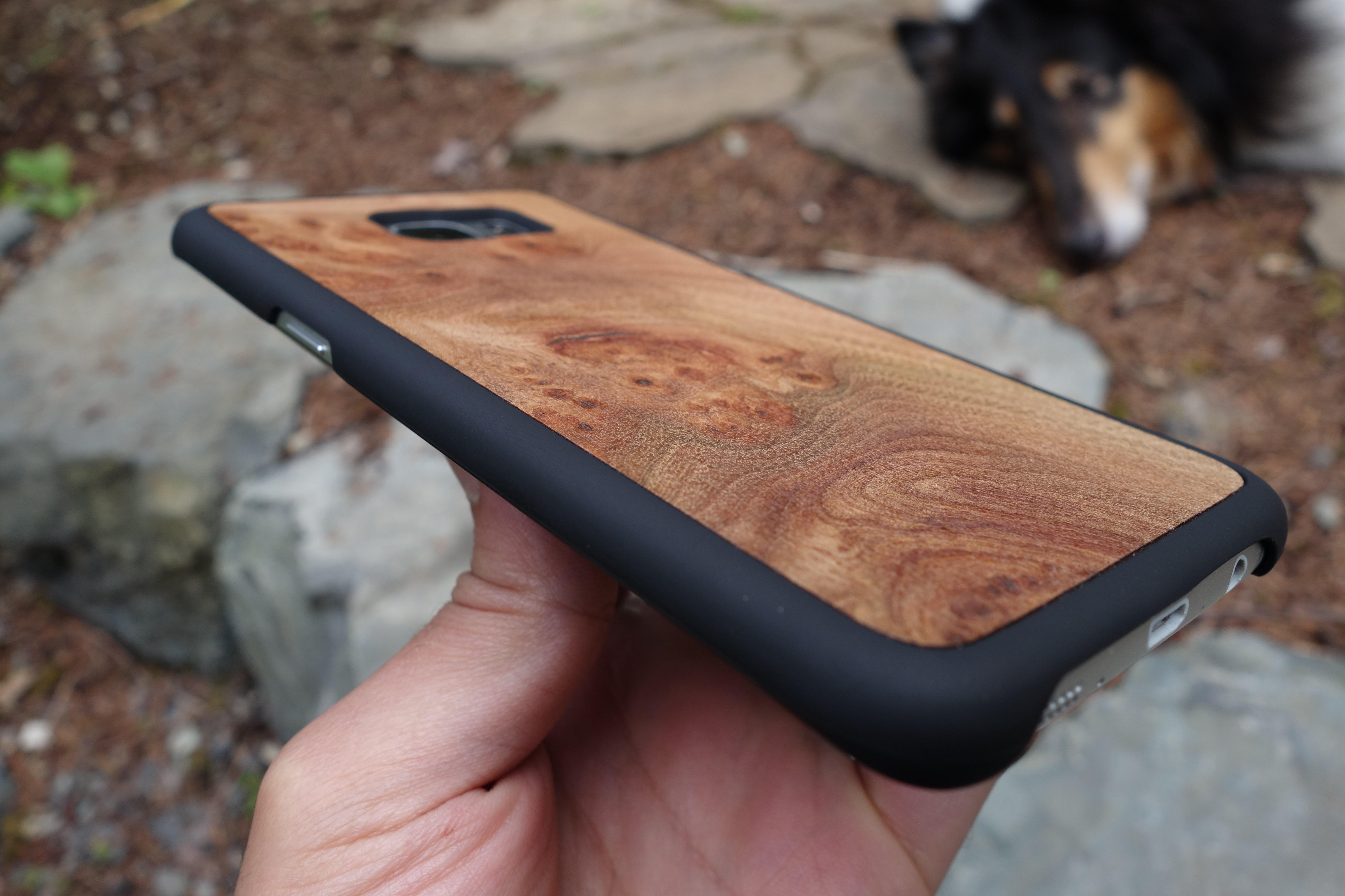 Snap case with Carpathian Elm Burl wood