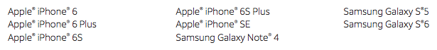 Asurion Eligible devices