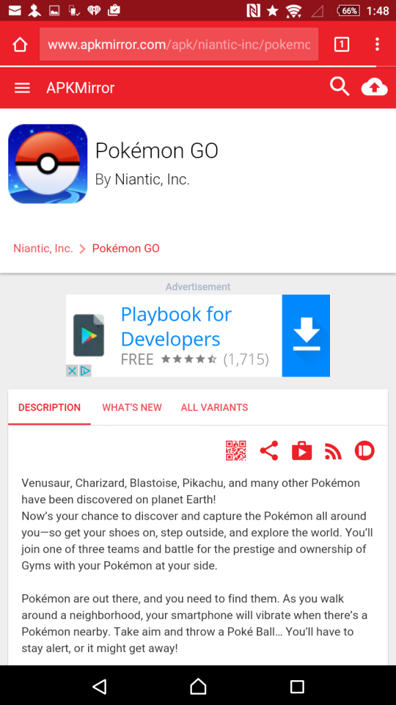 Pokemon GO download site for sideloading an APK