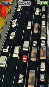 Your red car really stands out in the sea of brown and white vehicles, so you can easily keep track of yourself as you smash carelessly into everyone else around you.