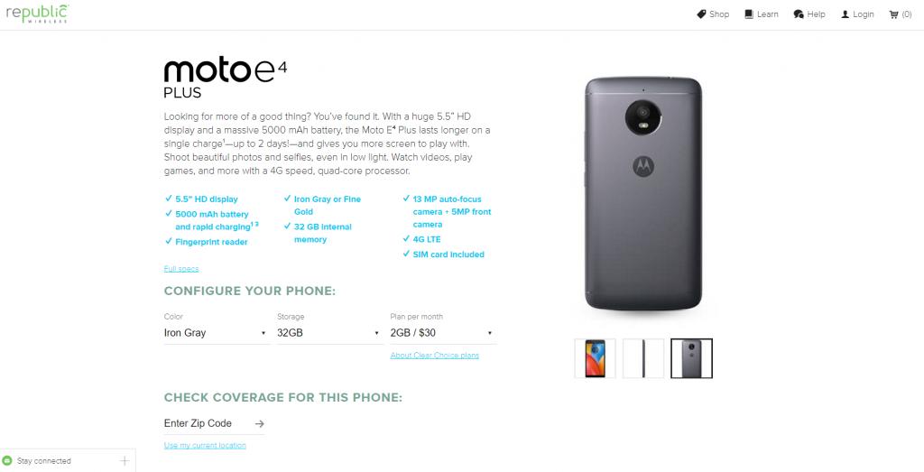 Republic Wireless Moto E4 Plus