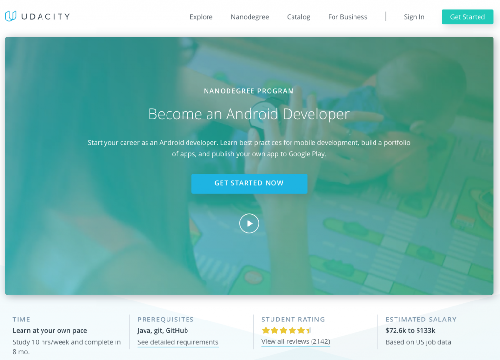 Udacity android developer info