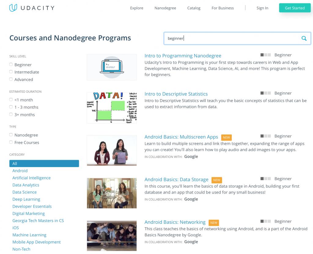 Udacity course catalogue