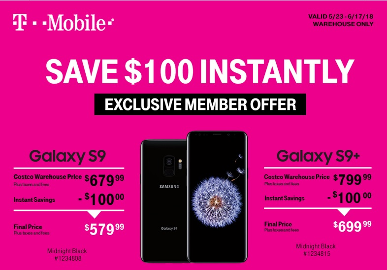 Costco has a great deal on the T-Mobile Galaxy S9 and Galaxy S9+