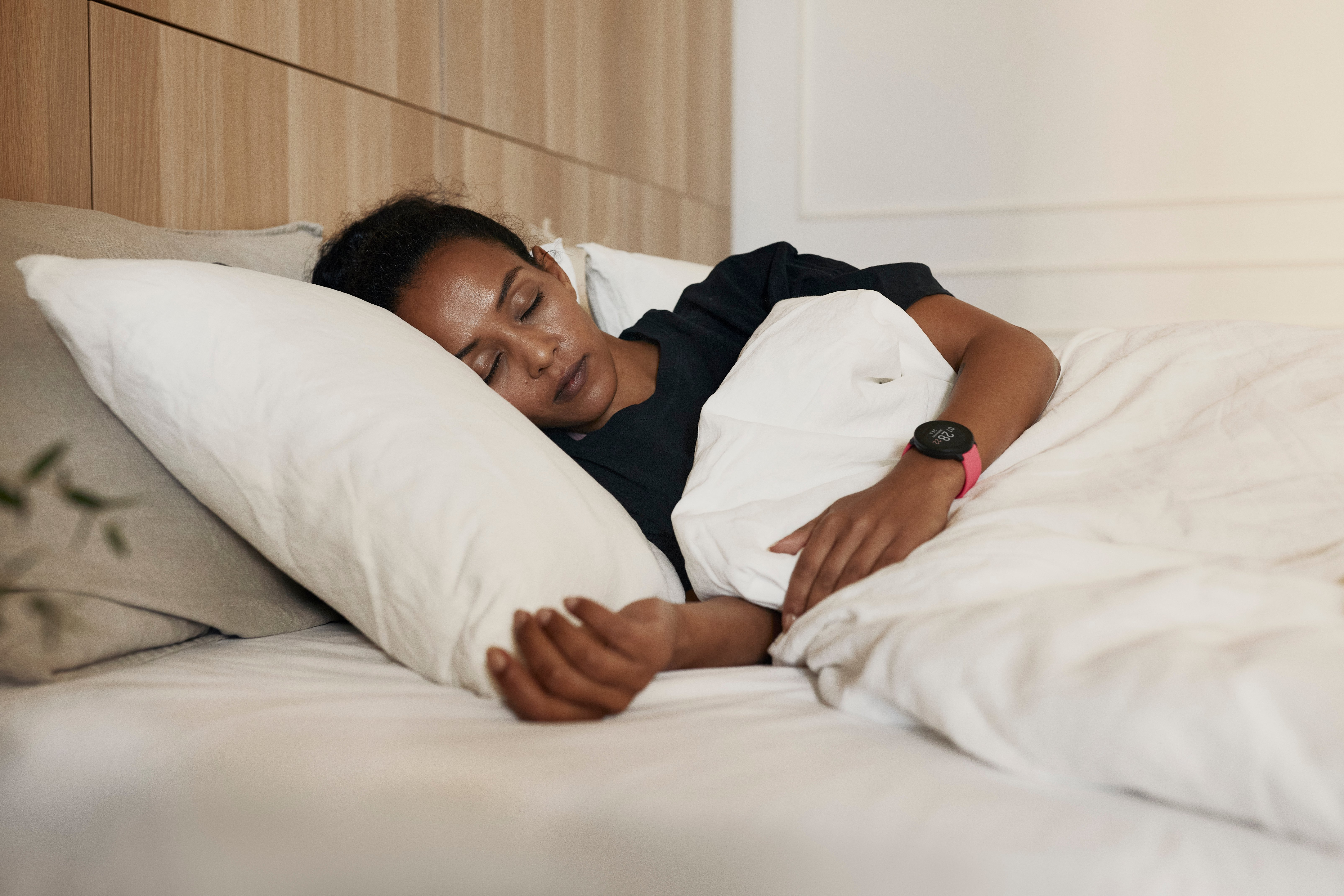 woman sleeping wearing Polar Unite