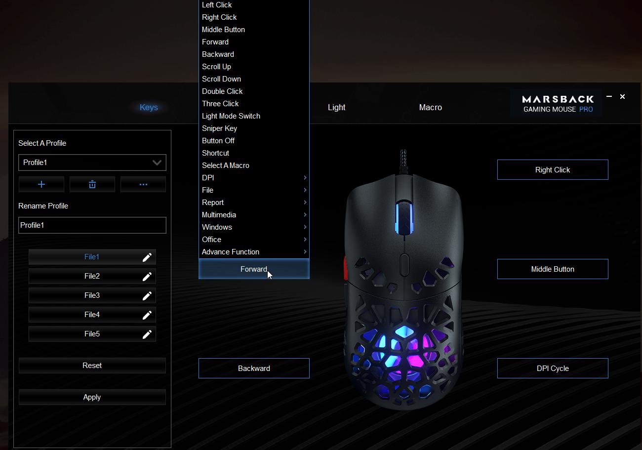 Zephyr Pro mouse key configuration options