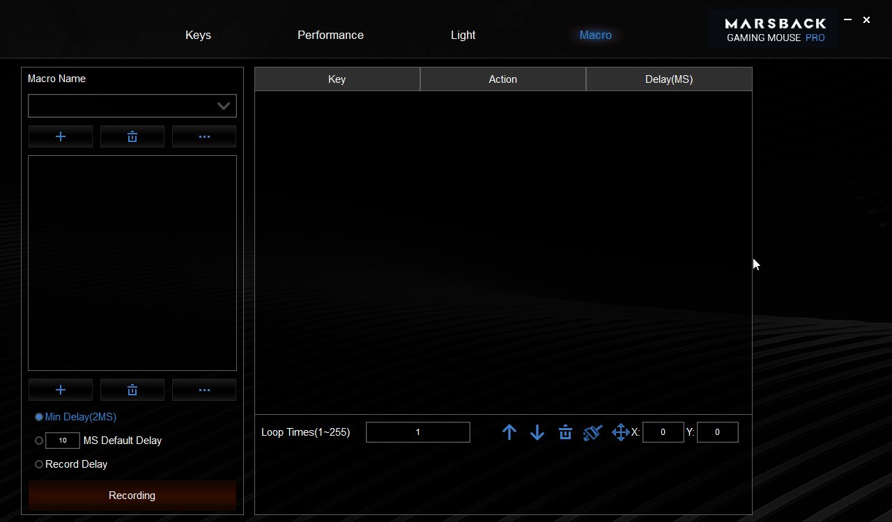 Zephyr Pro Macro creation page