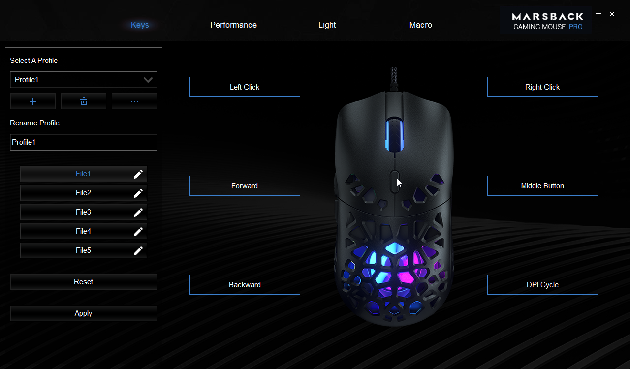 Zephyr Pro Mouse configuration page